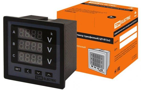 Цифровой вольтметр ЦП-В72х3 0-кВ-0,5 (трехфазный) TDM, цена