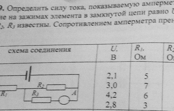 Определить силу тока, показываемую амперметром в схеме. Напряжение
