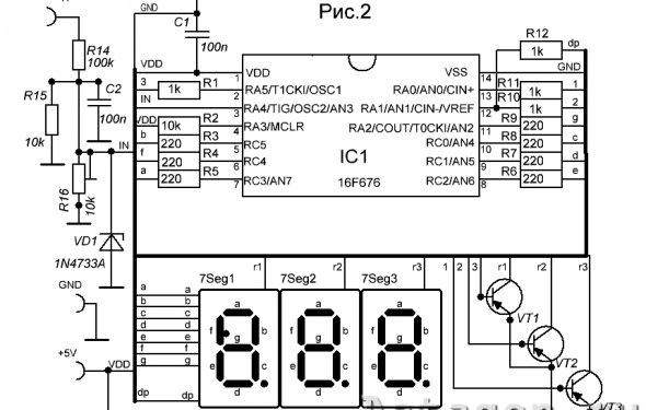 Универсальный вольтметр - амперметр на PIC16F676 с открытым